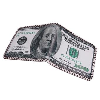 Hanyu 100 Dollar PU Fashion Students Male Folding Wallet Multicolor
