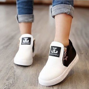 Hanyu Autumn PU Leather Solid Zipper Flat Shoes for Children White - 3