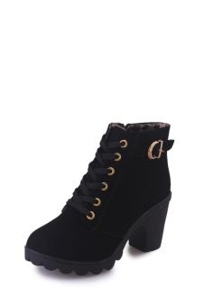 Hanyu Autumn Winter Women Lady PU Leather High Heel Martin Ankle Zipper Boots Shoes Black - intl - 5