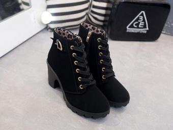 Hanyu Autumn Winter Women Lady PU Leather High Heel Martin Ankle Zipper Boots Shoes Black - intl - 2
