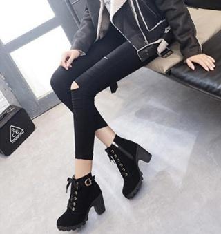 Hanyu Autumn Winter Women Lady PU Leather High Heel Martin Ankle Zipper Boots Shoes Black - intl - 3