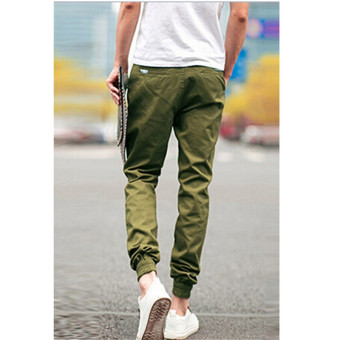 Hanyu Cotton Solid Causal Trouser Pants for Men Green - 3