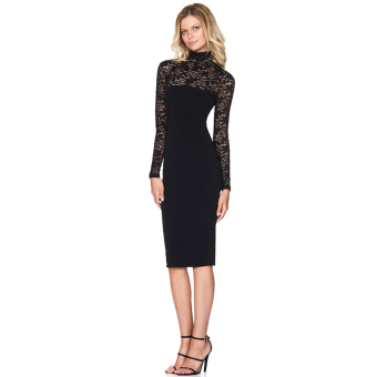 Hanyu Floral Sexy Lace Long Sleeve Dress for Women Ladies Black