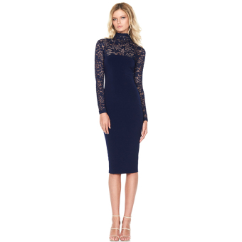 Hanyu Floral Sexy Lace Long Sleeve Dress for Women Ladies Blue