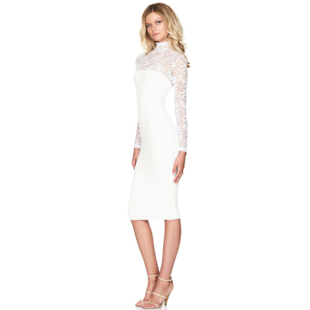 Hanyu Floral Sexy Lace Long Sleeve Dress for Women Ladies White
