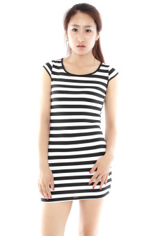 Hanyu Hip Short Sleeve Slim Dresses Black/White