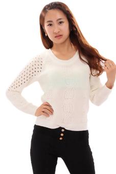 Hanyu Hollow Sweater Round Collar Long Sleeve White