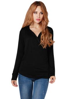 Hanyu Hot Style Blouse Sexy Knit Shirt Black