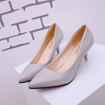 Hanyu Korean Fashion Patent Leather Tip High Heels Shallow Mouth Shoes Occupation Women's Single Shoes Pumps (Grey) - intl