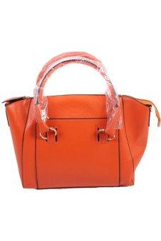 Hanyu Leather Satchel Cross Body Tote Handbag Orange