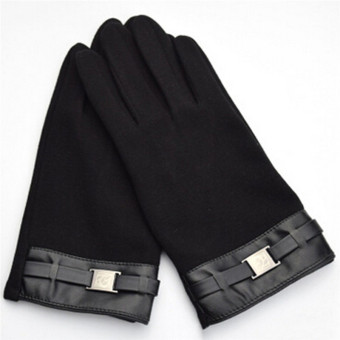 Hanyu Men's Winter Warm Gloves Touch Screen Gloves Smartphone Texting Stretch Full Finger Adult Gloves Black - intl - 2