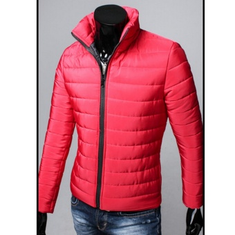 Hanyu New Fashion Coat Winter Men's Cotton Collar Casual JacketThicker Warm Cotton Jacket(Red) - intl