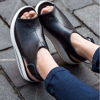 Hanyu New Style Fashion Women's Shake Shoes Summer Fish Mouth Sandals Leather Wedge Shoes Non-slip Platform Shoes with Magic Sticker (Black) - intl - 2