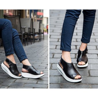Hanyu New Style Fashion Women's Shake Shoes Summer Fish Mouth Sandals Leather Wedge Shoes Non-slip Platform Shoes with Magic Sticker (Black) - intl - 3