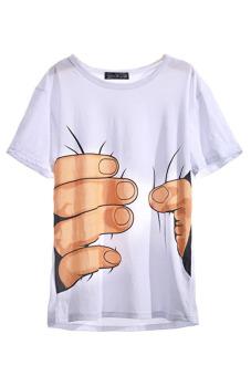 Hanyu Round Neck Short Sleeves T-shirt (White)