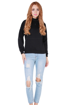 Hanyu Students Hooodies Girls Pullovers O-Neck Black - picture 2