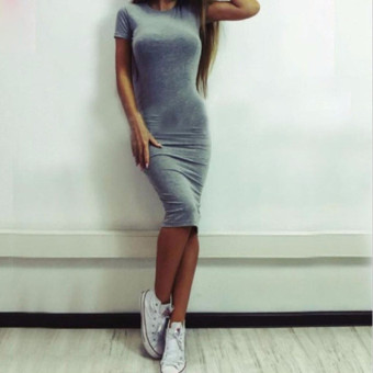 Hanyu Summer Women Short Sleeve Dress O-Neck Sexy Slim Bodycon Pencil Dress Gray - intl