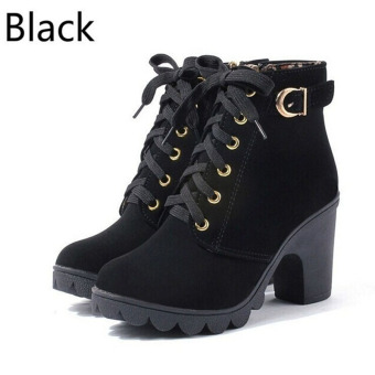 Hanyu Thick PU Leather High Heel Zipper Martin Ankle Boots for Women Black