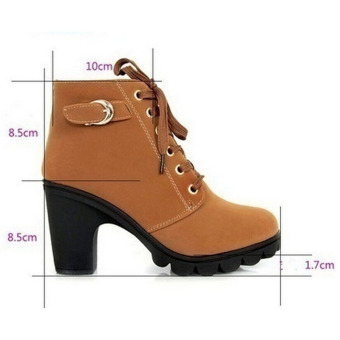 Hanyu Thick PU Leather High Heel Zipper Martin Ankle Boots for Women Yellow - 4