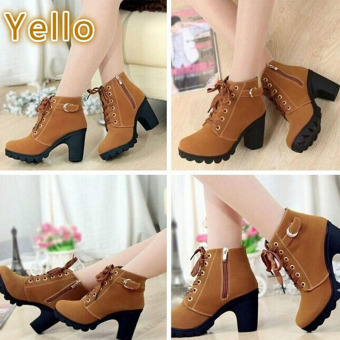 Hanyu Thick PU Leather High Heel Zipper Martin Ankle Boots for Women Yellow - 3