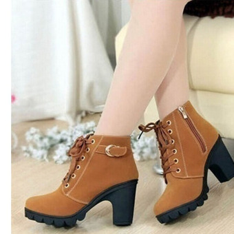 Hanyu Thick PU Leather High Heel Zipper Martin Ankle Boots for Women Yellow