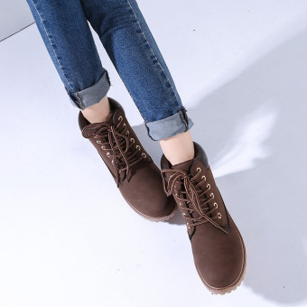 Hanyu Winter Shoes PU Leather Patchwork Strapped Flat Fashion Women Boots Brown - 2
