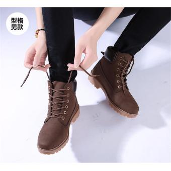 Hanyu Winter Shoes PU Leather Patchwork Strapped Flat Fashion Women Boots Brown