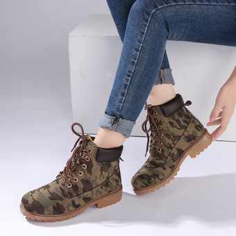 Hanyu Winter Shoes PU Leather Patchwork Strapped Flat Fashion Women Boots Camouflage