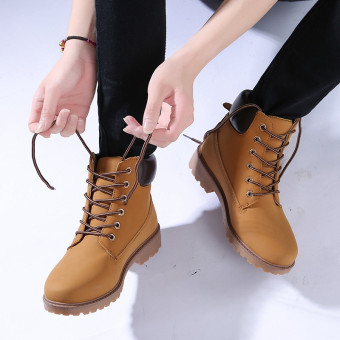 Hanyu Winter Shoes PU Leather Patchwork Strapped Flat Fashion Women Boots Yellow