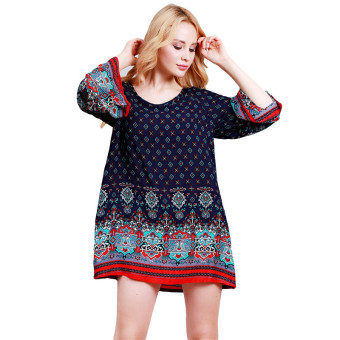 Hanyu Women's Bohemian Vintage Printed Ethnic Style Loose Casual Tunic Dress Navy