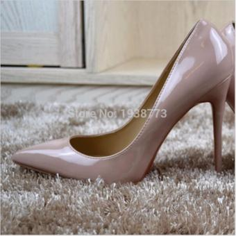 Hanyu Womens Fashion Thin High Heel Pumps Leather Pointed Toe Nude Shoes (Apricot) - intl - 3