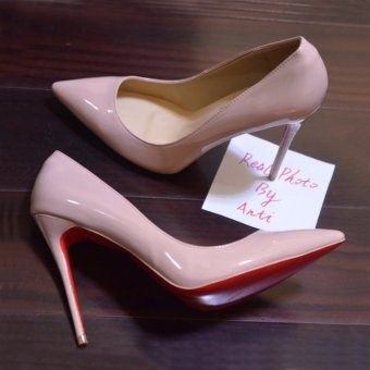 Hanyu Womens Fashion Thin High Heel Pumps Leather Pointed Toe Nude Shoes (Apricot) - intl - 2