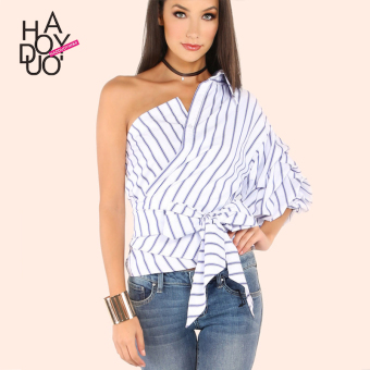 Haoduoyi2017 European and American blue and white spring and summer New style striped shirt