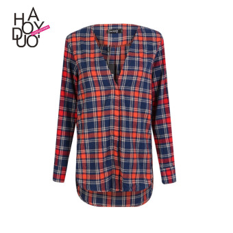 Haoduoyi2017 European and American New style grid striped Printed shirt