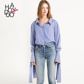 Haoduoyi2017 European and American spring and summer New style elegant striped shirt