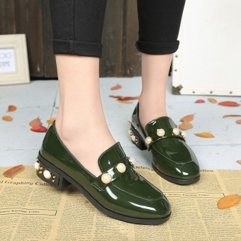 Harajuku British Spring and Autumn New style student female shoes small shoes (Dark green color Pearl)