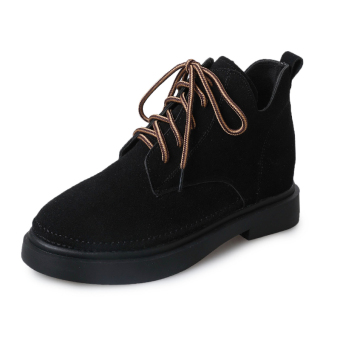 Harajuku British style female heavy-bottomed student casual platform shoes retro small shoes (Black)