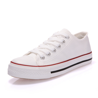 Harajuku Korean-style female flat casual shoes high-top canvas shoes (To help low-off-white red)