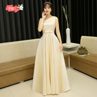 Hasty satin New style bridesmaid sisters dress bridesmaid dress (Champagne color F Models)