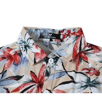 Hawaiian Style Floral Casual Shirt Short Sleeve Mens Shirts Black - intl - 5