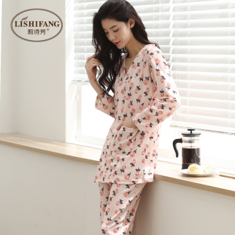 He Fengquan cotton female Spring and Autumn cotton long-sleeved kimono tracksuit Japanese pajamas (C7307 pink)