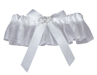 Heart Rhinestone Bridal Tossing Garter (White)