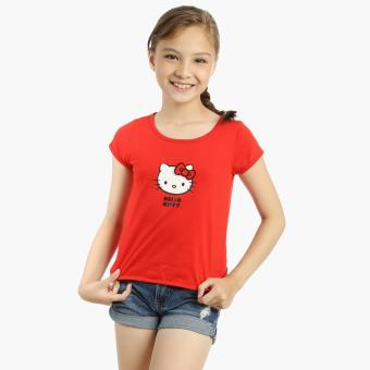 Hello Kitty Girls Cap Sleeves Top (Red)