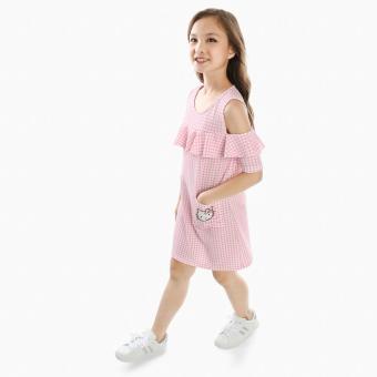 Hello Kitty Girls Pop-over Gingham Dress (Pink)