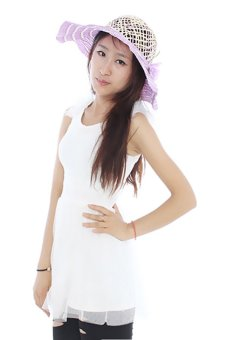Hengsong Beach Flowers Straw Hat Purple