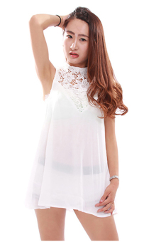 Hengsong Boho Lace Chiffon Summer Dress (White) - picture 2