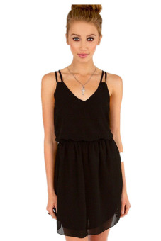 Hengsong Chiffon Casual Party Skirt Short Mini Slip Dress (Black) - picture 2