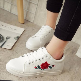 HengSong Fashion Women Sneakers Print PU Casual Shoes Sports Lace-Ups Flat Shoes-White - intl