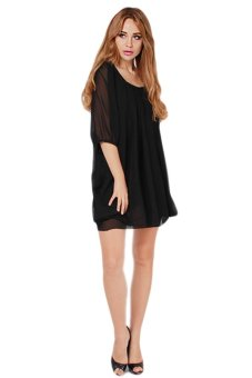 HengSong Female Fashion Chiffon Dress Mini Dresses (Black)