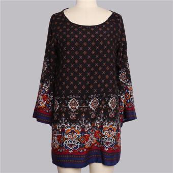 HengSong Ladies Women's Bohemian Vintage Printed Ethnic Style Loose Casual Tunic Dress Black - 5